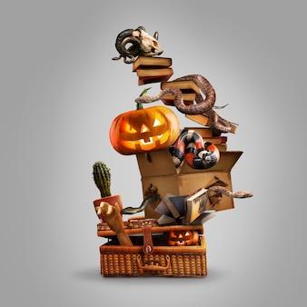 Collage van halloween-heksenuitrusting op zachte grijze achtergrond, saints' eve-stemming. pumpking, slangen, hoed, boeken, bezem. zwarte vrijdag, verkoopconcept. kopieerruimte. oktober, herfsttijd. creatief kunstwerk.