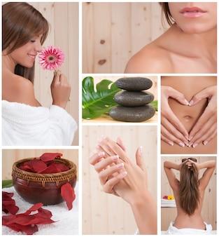 Collage van jonge vrouw die een lichaamsbehandeling krijgt op een massageplaats