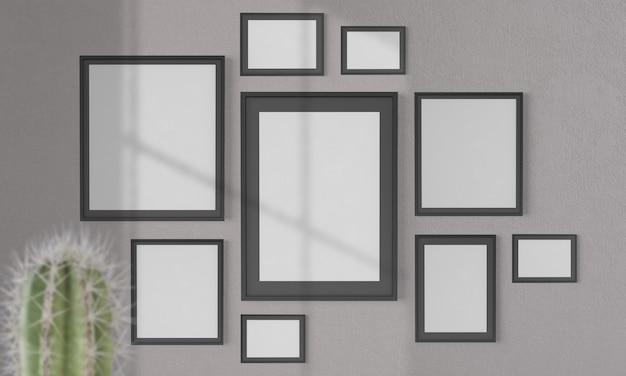 Collage van lege frames op een muurmodel 3d-rendering
