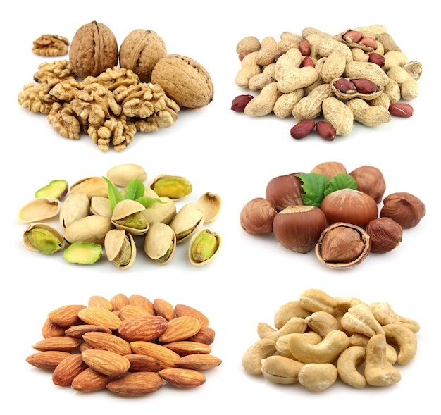 Collage van noten: walnoten, hazelnoot, pinda, amandelen, pistachenoten, cashewnoten