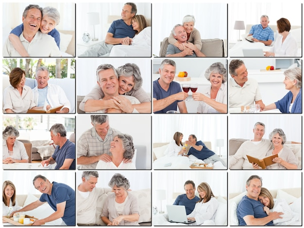Collage van oudere koppels knuffelen en ontspannen