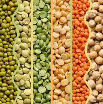 Collage van peulvruchten: erwten linzen bonen kikkererwten close-up