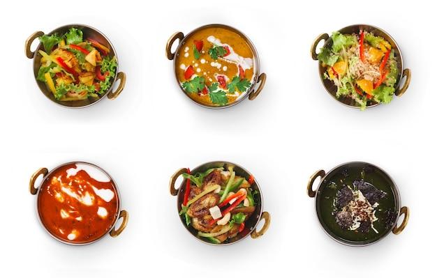 Collage van restaurantgerechten op wit wordt geïsoleerd