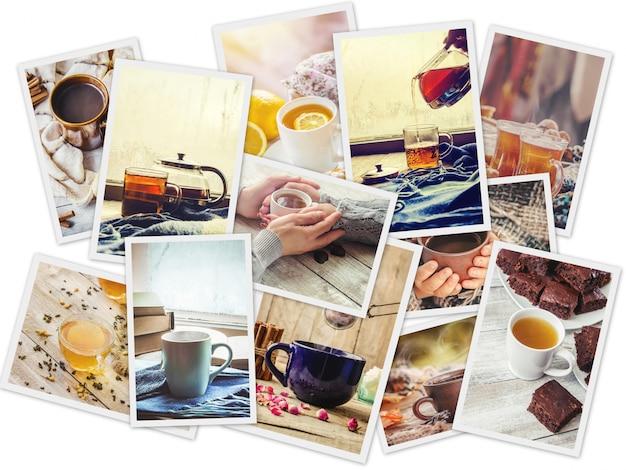 Collage van thee. selectieve aandacht. eten en drinken.