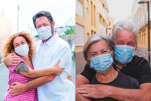 Collage van twee koppels mensen die een masker op hun gezicht dragen om covid-19 of coronavirus of een virus en ziekte te voorkomen - oudere en volwassen verliefde mensen