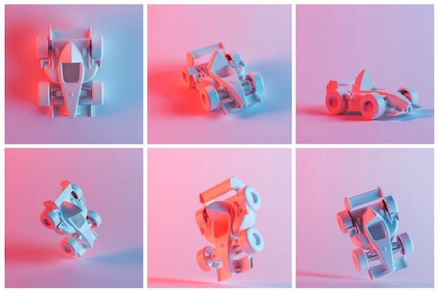 Collage van vintage formule één miniatuurauto over de roze achtergrond