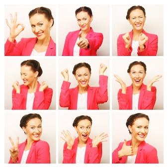 Collage van vrouw verschillende gezichtsuitdrukkingen.