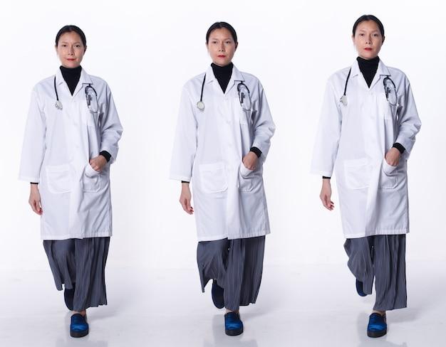 Collage volledige lengte van 40s 50s aziatische lgbtqia+ doctor woman draag laboratoriumjas, stethoscoop, patiëntenkaart. medische vrouw lopen in het ziekenhuis over witte achtergrond isolated