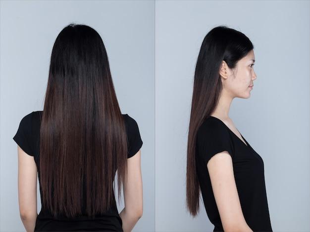 Collagegroepspakket van aziatische vrouw voordat make-up kapsel wordt aangebracht. geen retouche, fris gezicht met mooie gladde huid. studioverlichting lichtgrijze achtergrond