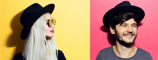 Collageportretten van vrolijk jong blond meisje en donkerbruine kerel, die zwarte hoed dragen.
