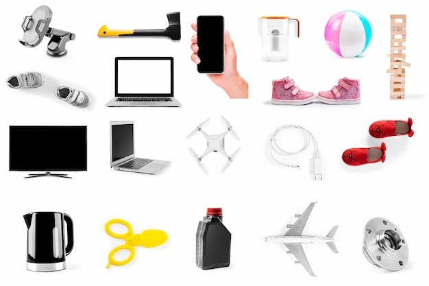 Collectie object geïsoleerd op een witte achtergrond