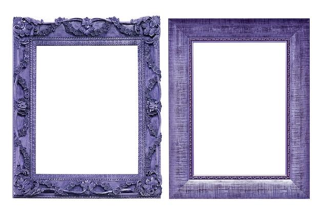 Collectie paarse vintage afbeeldingsframe geïsoleerd