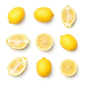 Collectie van citroenen geïsoleerd op een witte achtergrond. set van meerdere afbeeldingen. onderdeel van series