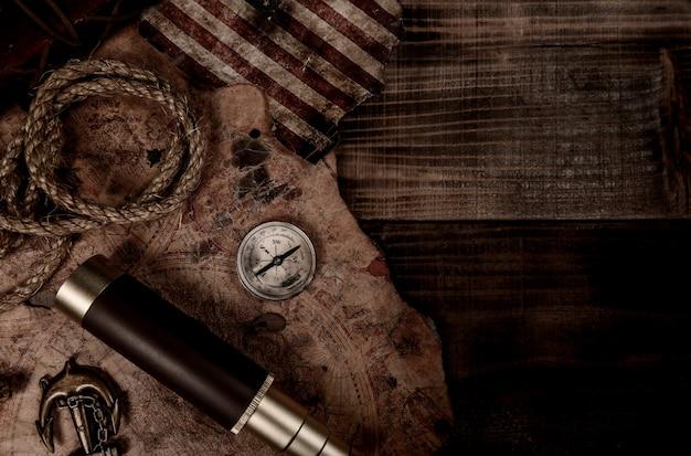 Columbusdag achtergrond. kaart en ontdekking van oude apparatuur. verkenning en geschiedenis van amerika in oktober.