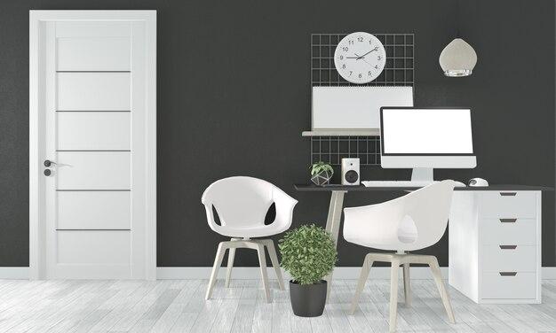 Comfortabel kantoor en decoratie op zwart wit houten vloer. 3d-weergave