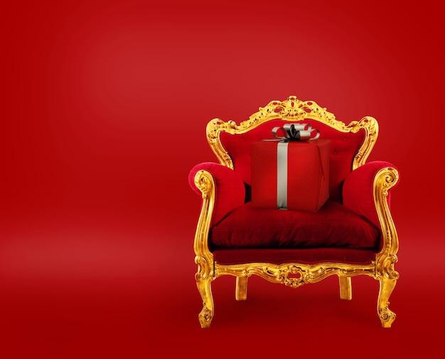 Comfortabele rode en gouden fauteuil met een kerstcadeau. concept als eersteklas bezorgservice