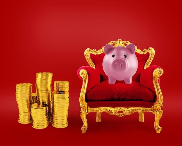 Comfortabele rode en gouden fauteuil met een spaarpot en stapels munten op rood