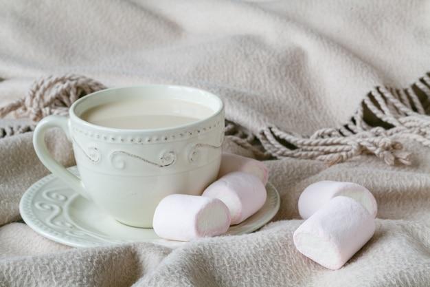 Comfortabele thee met warme wollen plaid en snoepjes