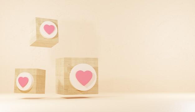 Commentaarpictogram en logo op houten plank minimale 3d-achtergrondweergave sociaal netwerkteken premium