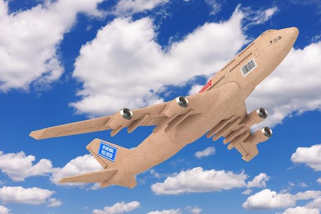 Commercieel industrieel vrachtbezorgingsvliegtuig als kartonnen pakketdoos op een blauwe hemelachtergrond. 3d-rendering