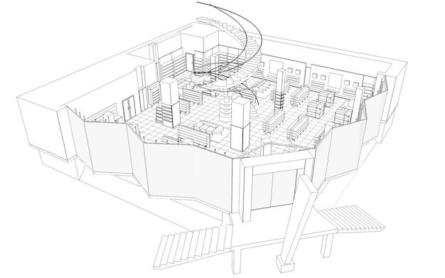 Commercieel pand winkel interieur visualisatie 3d illustratie