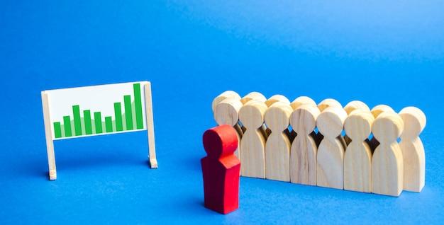 Commercieel team met leiderstribune met schema.