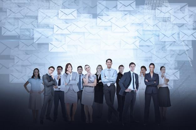 Commercieel team tegen e-mailachtergrond