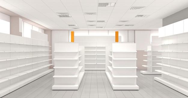 Commerciële gebouwen, winkel, interieurvisualisatie