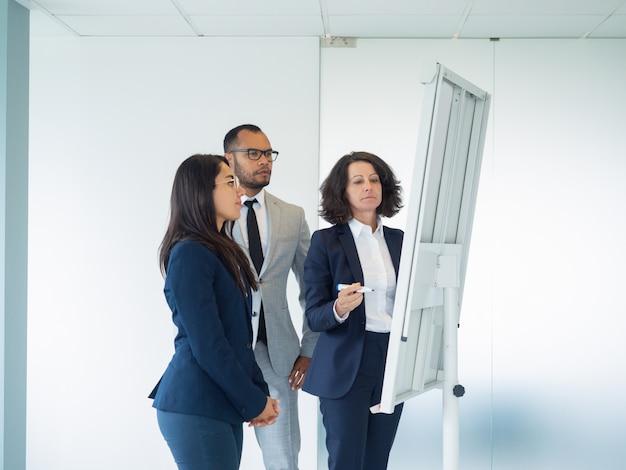 Commerciële groep van drie die trekkend op whiteboard bestuderen