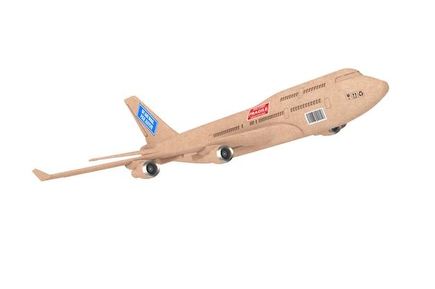 Commerciële industriële lading levering jet vliegtuig als kartonnen pakketdoos op een witte achtergrond. 3d-rendering