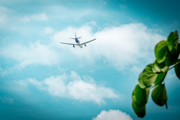 Commerciële luchtvaartmaatschappij. het passagiersvliegtuig stijgt op luchthaven met mooie blauwe hemel op
