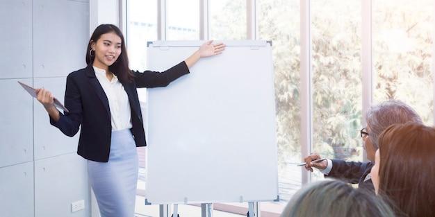 Commerciële teamvergadering en huidig project in witte bureauruimte