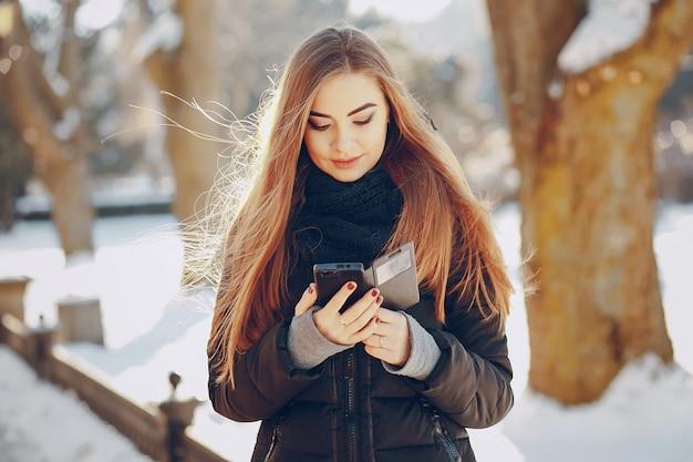 Communicatie meisje mobile wit natuur