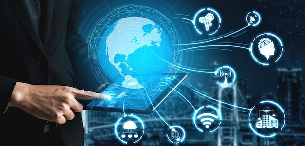 Communicatietechnologie draadloos internetnetwerk voor wereldwijde bedrijfsgroei, sociale media, digitale e-commerce en entertainment thuisgebruik.
