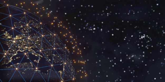 Communicatietechnologie voor internetzaken. wereldwijd netwerk en telecommunicatie op aarde, 3d-rendering