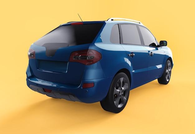 Compacte stad crossover blauwe kleur op een gele achtergrond. rechts achteraanzicht. 3d-weergave. Premium Foto