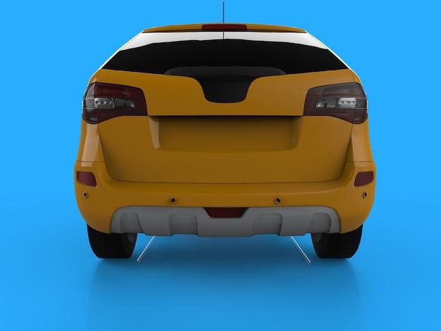 Compacte stad crossover gele kleur op een blauwe achtergrond. achteraanzicht. 3d-weergave.