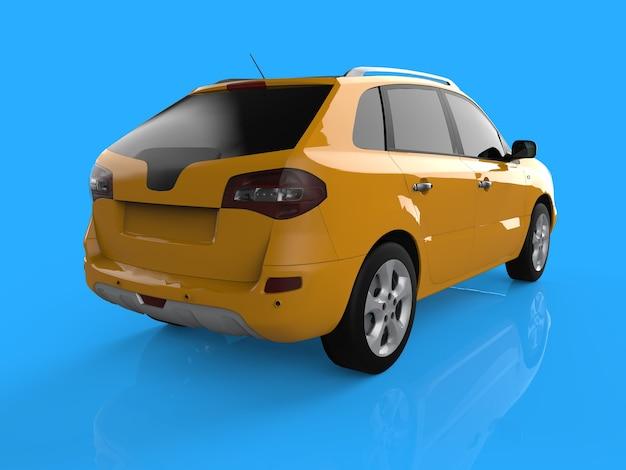Compacte stad crossover gele kleur op een blauwe achtergrond. rechts achteraanzicht. 3d-weergave.