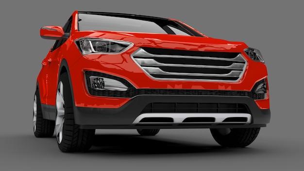 Compacte stad crossover rode kleur op een grijze achtergrond. 3d-weergave.