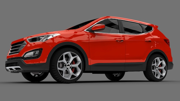 Compacte stad crossover rode kleur op een grijze achtergrond. 3d-weergave. Premium Foto