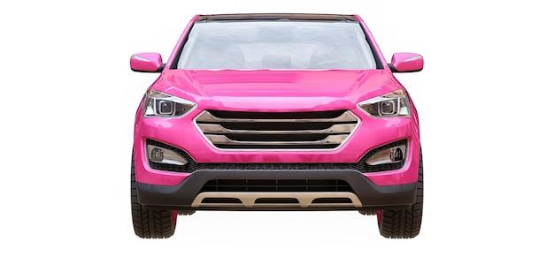 Compacte stad crossover roze kleur op een witte achtergrond. 3d-rendering.