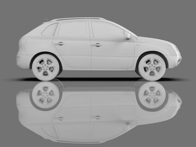 Compacte stad crossover witte kleur op een grijze glanzende achtergrond met reflecties. 3d-weergave.