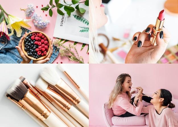 Compilatie van meisjesachtige afbeeldingen met make-upthema's