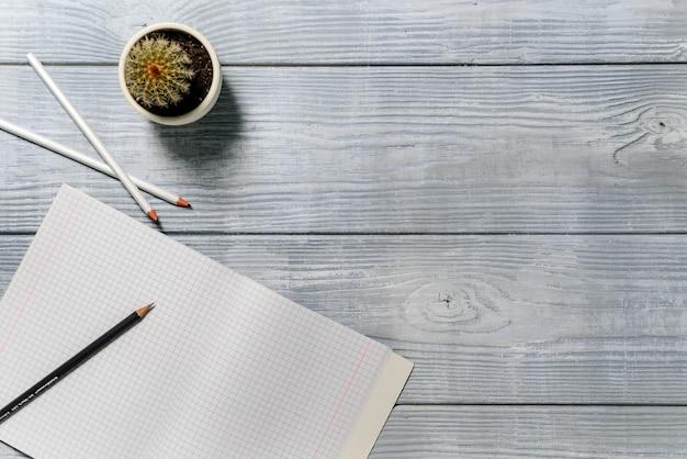 Compositie met een oppervlak van planken, een notebook, potloden en een cactus.