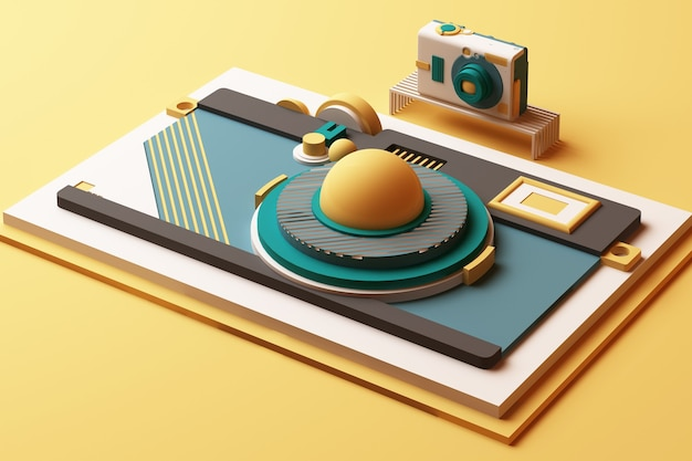 Compositie van de camera van geometrische vormen in memphis-stijl in gele en groene toon. 3d-rendering illustratie