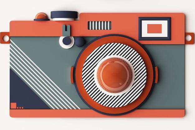 Compositie van de camera van geometrische vormen in memphis-stijl in oragne en blauwe toon. 3d-rendering illustratie