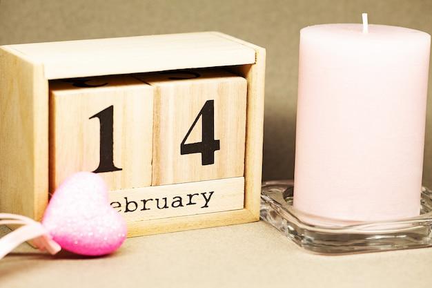 Compositie voor valentijnsdag, kalender 14 februari