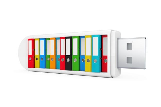 Computer bedrijfsconcept. kleurrijke office-mappen in usb flash drive op een witte achtergrond. 3d-rendering