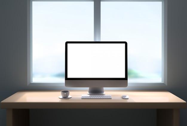 Computer beeldscherm. 3d-afbeelding