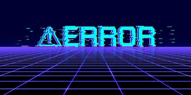 Computer gevaarsymbool cyberpunk concept 80s neon tone digitale pixel computersysteemfout